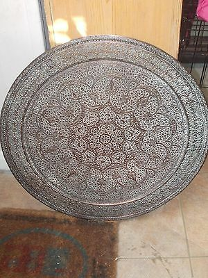 Large Antique Persian Islamic 19th Century Kashmiri Copper Tray - Diameter 57cm