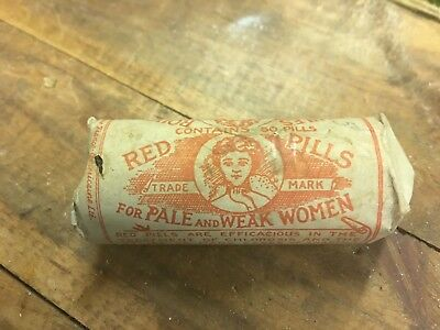 Red Pills For Pale & Weak Woment Vial Quack Antique Medicine Pharmacy Druggist