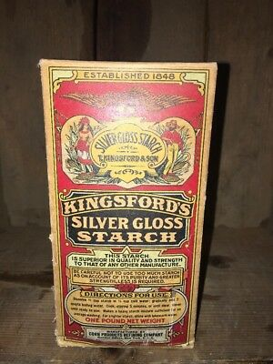 Antique  Box Kingsford Silver Gloss Starch New York Indian Pilgrim Label Nos 1