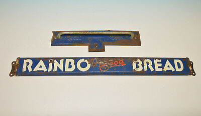 Antique General Store Rainbo Bread Door Push Sign And Hand Pull