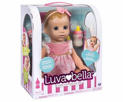 Luvabella Blonde Baby Girl Doll, Interactive True to life expressions Authentic