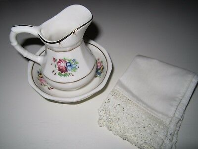 American Girl SAMANTHA Washstand Pitcher & Bowl + Lace Edged Towel 1993 1st Ed