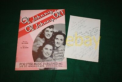 ANDREWS SISTERS SIGNED PAGE PSA/DNA LOA AUTOGRAPH MAXENE PATTY LAVERNE D Gilbert