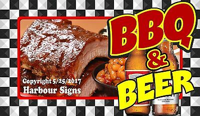 (Choose Your Size) BBQ and Beer DECAL Food Truck Vinyl Sign Sticker Concession