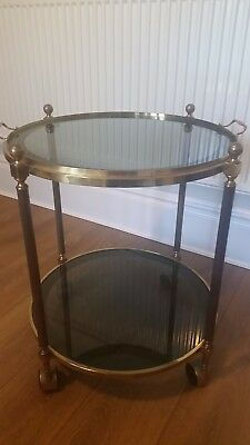 Vintage retro two-tier round drinks trolly with removable tray.  Rare.
