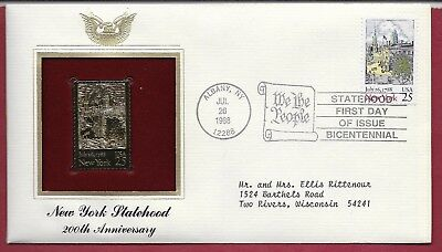 1988 24kt Gold Plated Foil First Day Cover - New York State 200th Anniversary