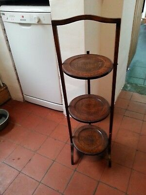 Beautiful Brown Antique Vintage Circa 1800-1900s Folding Solid Wood Cake Stand
