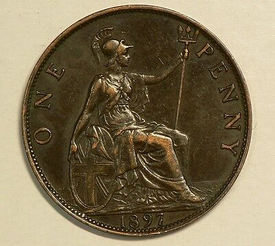 Great Britain 1897 Penny  Queen Victoria High Grade #G7597