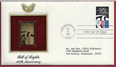1989 24kt Gold Plated Foil First Day Cover - Bill of Rights 200th Anniversary