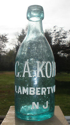 Crude, Clean & Bubbly Aqua Pony Soda or Beer Bottle G. A. KOHL LAMBERTVILLE NJ