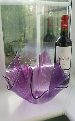 1960/70s CHANCE GLASS 'CORDON' PATTERN HANDKERCHIEF VASE - 7""