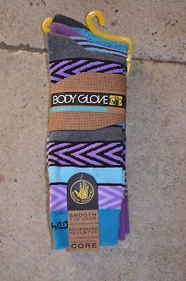 Body Glove 3 pack Crew Socks Funky Pattern stripes Purple and Blue and Greys