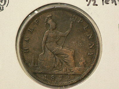 Great Britain 1872 Half Penny  Queen Victoria KM#742.8 #G7654