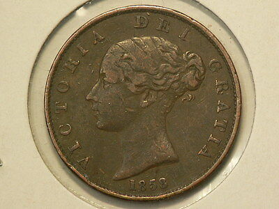 Great Britain 1858 Half Penny  Queen Victoria KM#726  #G7655