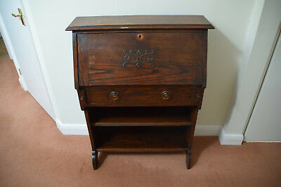 Vintage Oak Bureau Writing Desk With Drawer