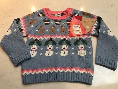 Next Girls Gorgeous Christmas Jumper Gingerbread Man Age 3-4 New With Tags