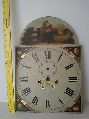 ANTIQUE  HAND PAINTED CLOCK FACE for TALL CASE GRANDFATHER CLOCK, hand maiden.