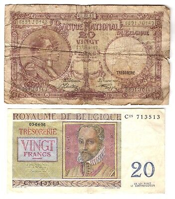 1920 Belgium 20 Franc Notes***Collectors***