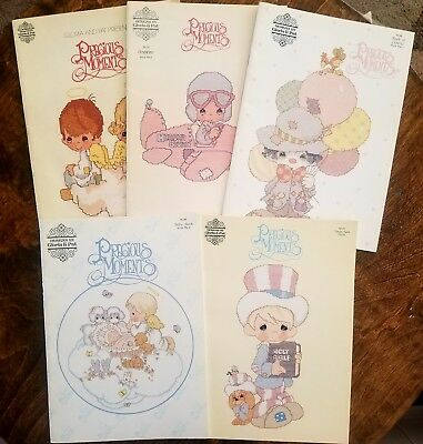 Lot of 5 Vintage Precious Moments Cross Stitch Pattern Books