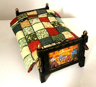 Gorgeous Dolls House Witch Folk Art Bed with Quilt, Pillow and Mattress - OOAK