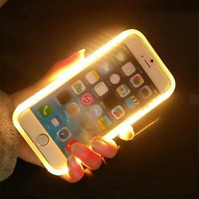For iPhone LED Case SE 5 6 7 8 & Plus Flash Light Up On Incoming Call Mirror Rim