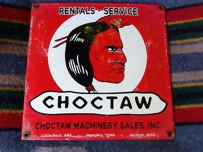 RED INDIAN CHOCTAW MACHINERY SALES STEEL PORCELAIN SIGN GAS OIL LUBESTER Pump