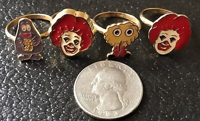 McDonald's Faux Gold Rings 2 Ronald,1 Fry Guy, 1 Grimace. Gift Or Collectors