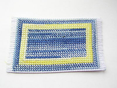 Dolls house rug cross stitch handmade blue and yellow variegated