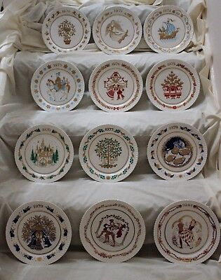 Spode Set of 12 Fine Bone China Christmas Collectors Plates 1970 to 1981