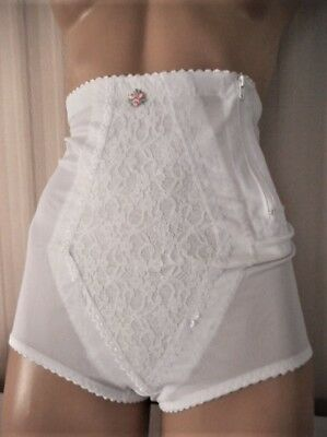 Nylon Spandex & Lace Side~Zip Hook & Eye Panty Girdle Brief S/5