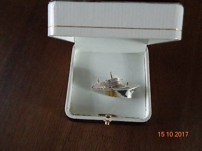 Cunard Queen Mary 2 Silver Brooch New In Box
