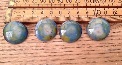 Four Vintage Ruskin Buttons, Vintage Ruskin Type Buttons, Stamped On Reverse