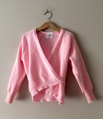 Girls Pink Ballet Cardigan Crossover Wrap Knitted by Dance Gear, Size 30'' (6-7)