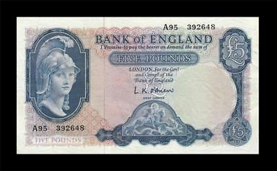 1961 BANK OF ENGLAND QEII 5 POUNDS **O'Brien** (( EF+ ))