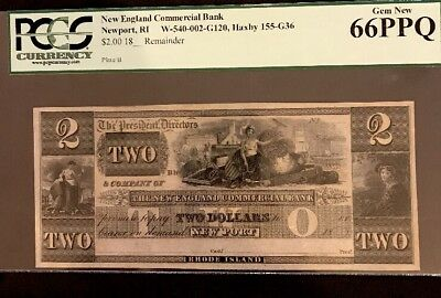 18__ $2.00 Remainder Of New England Commercial Bank Newport Ri * Very Rare*