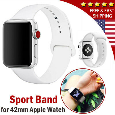 White Silicone Sport Wrist Watch Strap Band for 42mm iWatch Apple Watch 1 2 3