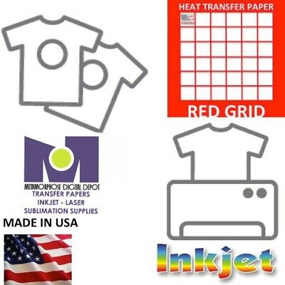 200PK LIGHT TRANSFER PAPER FOR INKJET PRINTER RED GRID  8.5 x 11 :)
