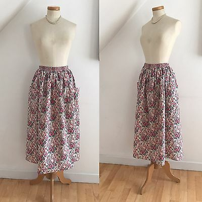 Vintage 1970s Liberty Skirt Big Pockets Rose Print Country Boutique Stock 16