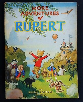 VINTAGE ORIGINAL 1947 RUPERT BEAR ANNUAL, PRICE UNCLIPPED at 3/6