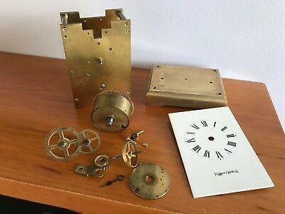 Antique Brass Carriage Clock Parts - With Enamel Mappin & Webb Dial