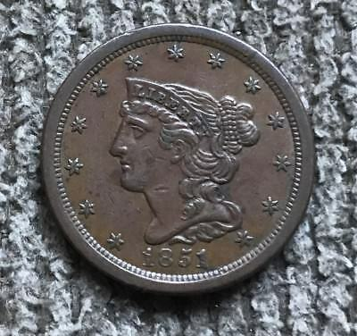 1851 Half Cent - Choice AU ++ to Brown-UNC