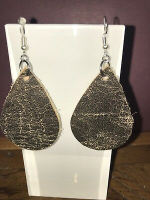 Brown rustic Teardrop Leather Earrings-new Hand Made - Free Shipping
