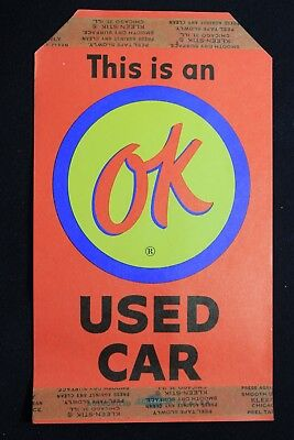 Vintage NOS Original GM Chevrolet This Is An OK Used Car Tag Impala Nova Camaro