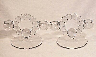 Imperial Candlewick Candleholders Crystal Set Of 2 Candlesticks Mint