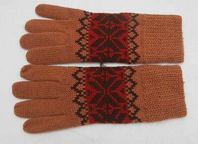 Vintage Ladies Machine Knitted Patterned Gloves Rust Brown Red (384)