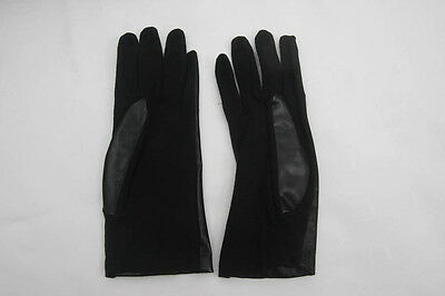 Vintage Ladies Black Pvc Backed  Gloves Cornelia James (620)