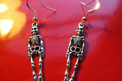 """HALLOWEEN CLASSIC Silvered SKELETONS 1"""" w/ Sterling Silver French Hook Earrings"""