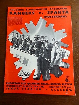 Rangers v Sparta - European Cup - Quarter Final - 16th March 1960