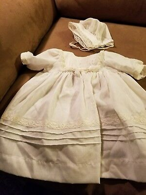 Vintage doll christening set gown and cap