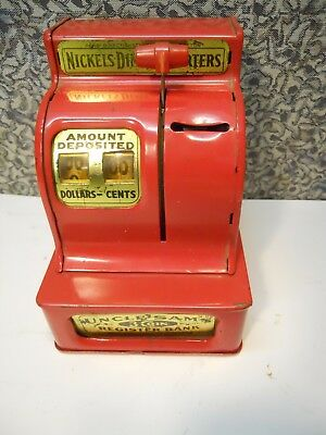 Uncle Sam's 3 coin Red Register Bank Works great 60's